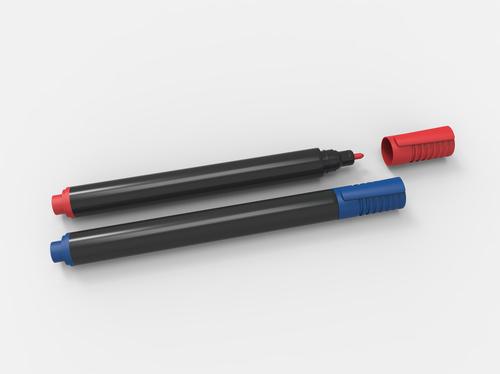 恋を叶える赤と青のペンの画像